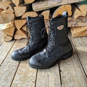 Red Wing Black Motorcycle Lace Up Boots US 13